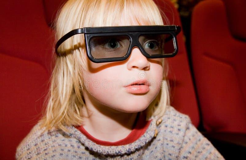 Cinema virtual da película da criança 3d imagem de stock