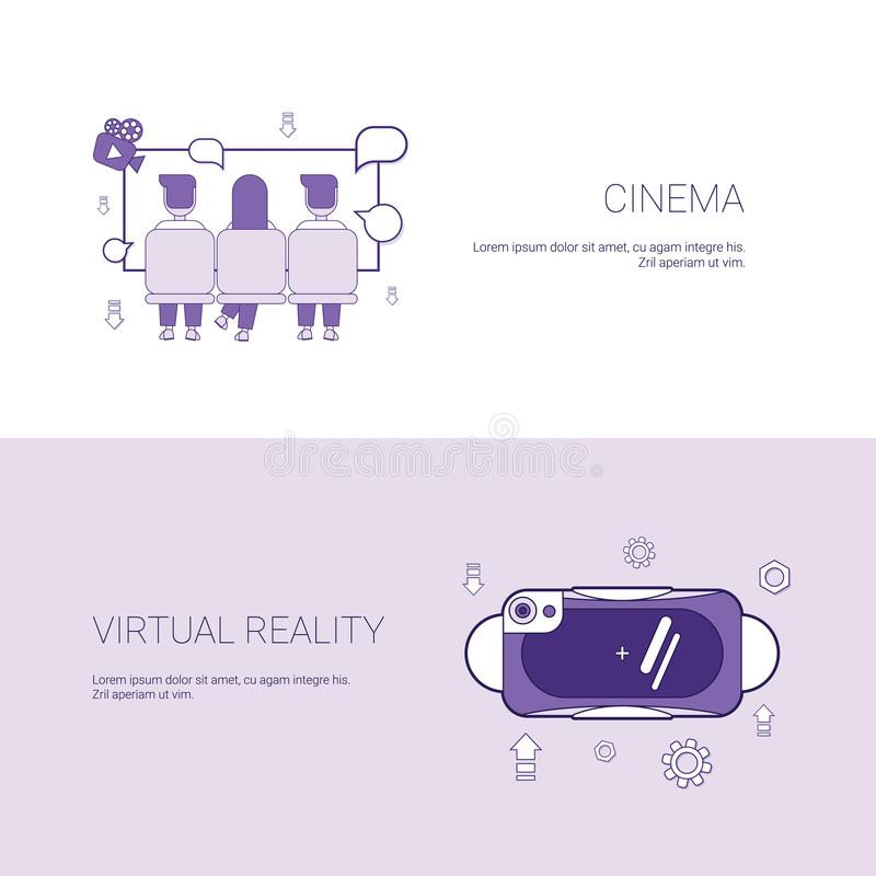 Cinema And Virtual Reality Concept Template Web Banner With Copy Space. Vector Illustration royalty free illustration