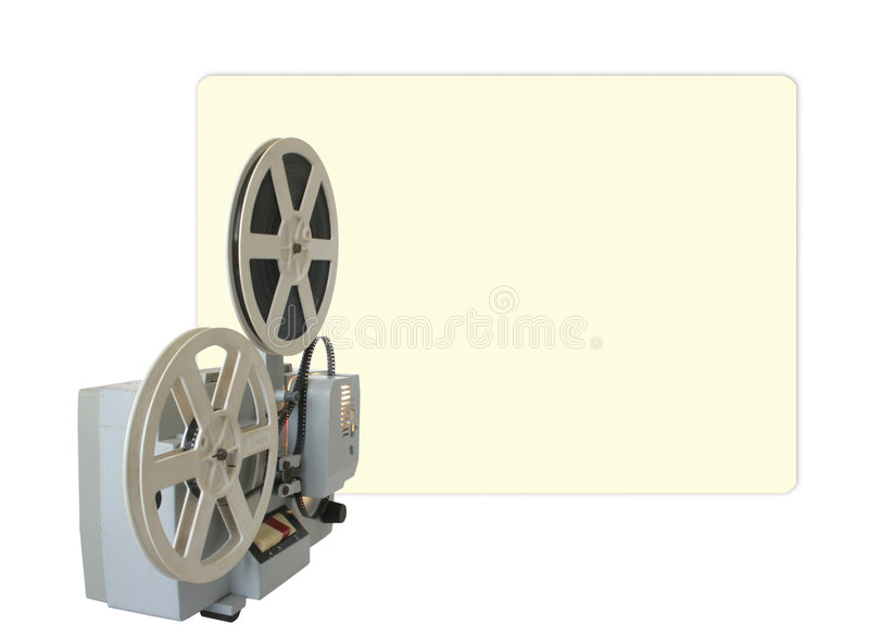 Cinema on the wall. Operational cinema projector with projection on the wall. Isolated stock photos