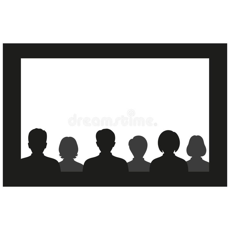 Cinema watch movie theater empty screen template mockup concept. Group people sitting before blank stock illustration