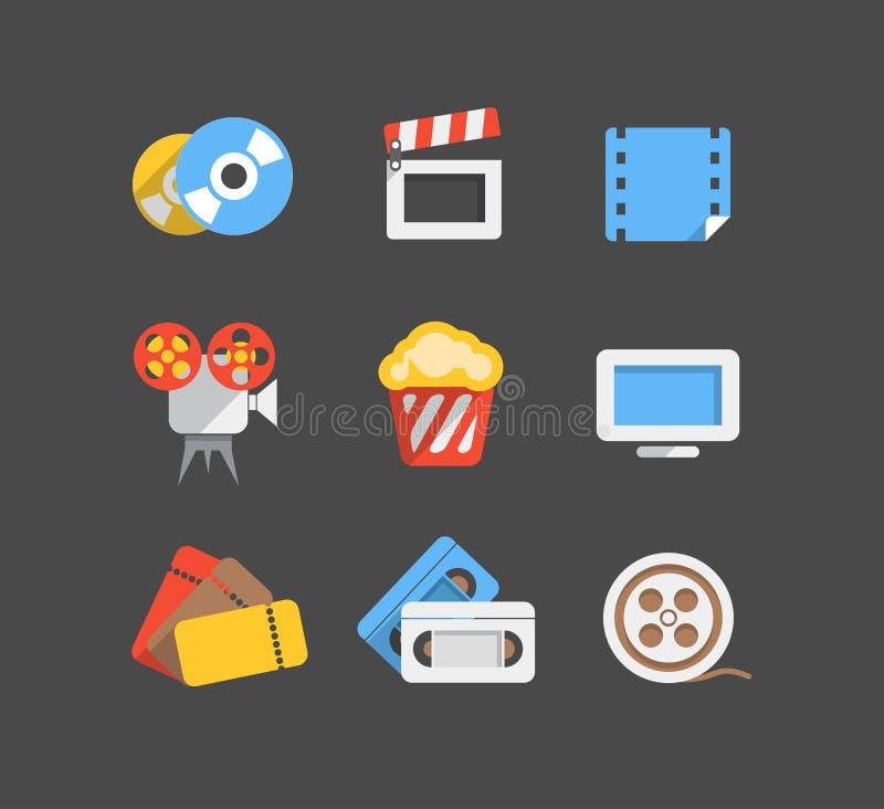 Cinema web flat design icons vector illustration