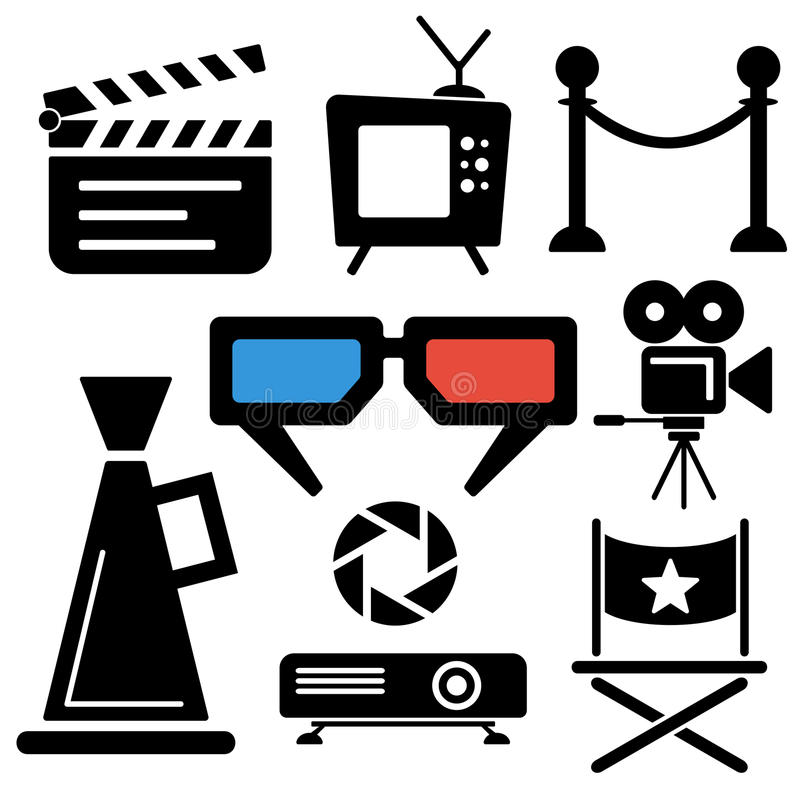 Cinema web and mobile logo icons stock vector image for Camera tv web