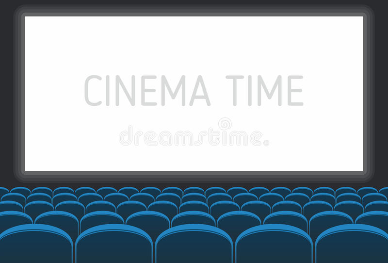 Cinema with white screen and blue seats stock illustration