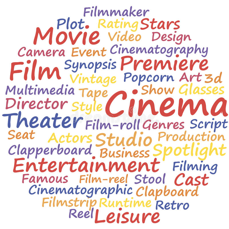 Cinema. Word cloud concept, a vector illustration stock illustration