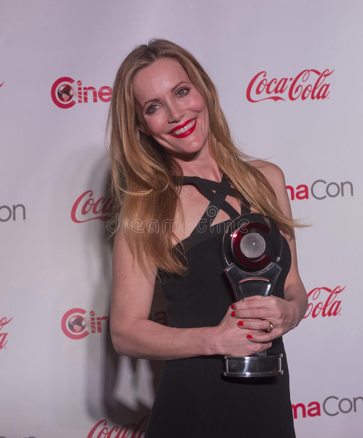CinemaCon 2014 - The Big Screen Achievement Awards. LAS VEGAS - MARCH 27: Comedy Star of the Year award winner, actress Leslie Mann arrives at The CinemaCon Big royalty free stock photo