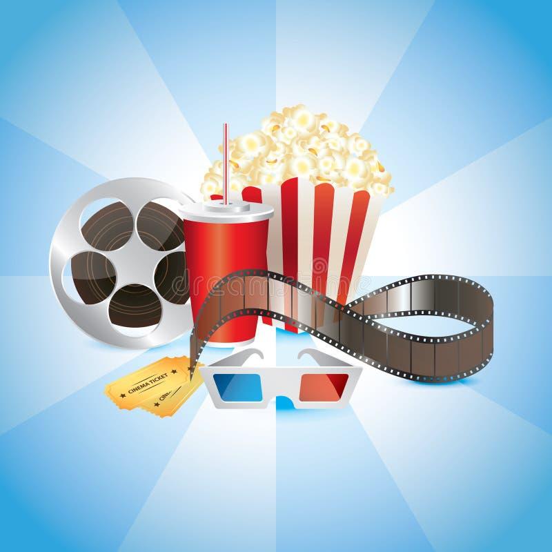 Cinematógrafo, película, palomitas, cola, y vidrios 3D stock de ilustración