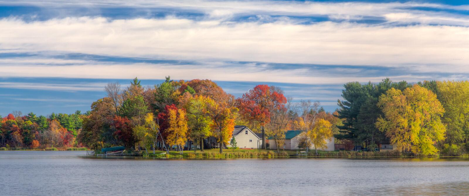 Cinematic Crop of Autumn Vibrant Colors on Apple River stock photos
