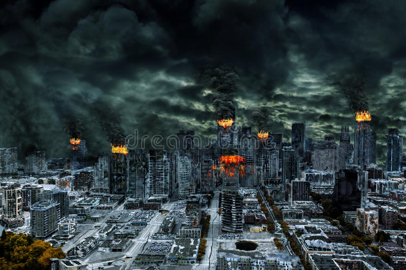 Cinematic Portrayal of Destroyed City With Copy Space. Detailed destruction of fictitious city with fires, explosion, sinkholes, split ground, train derailment vector illustration