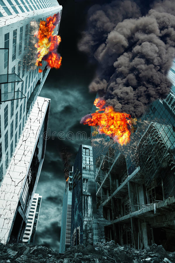 Cinematic Portrayal of Destroyed City stock photography