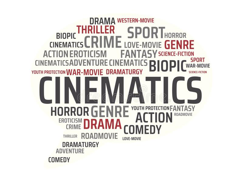 CINEMATICS - εικόνα με τις λέξεις που συνδέονται με τον ΚΙΝΗΜΑΤΟΓΡΑΦΟ θέματος, λέξη, εικόνα, απεικόνιση απεικόνιση αποθεμάτων