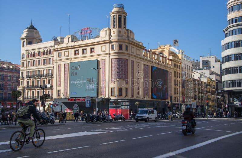 Cinematografia Callao a Madrid immagini stock