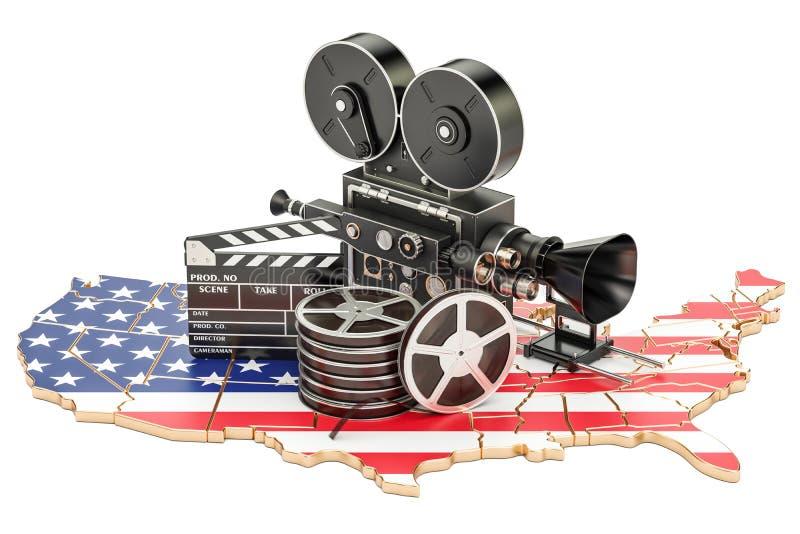 Cinematografia dos EUA, conceito do industria do cinema rendição 3d ilustração royalty free