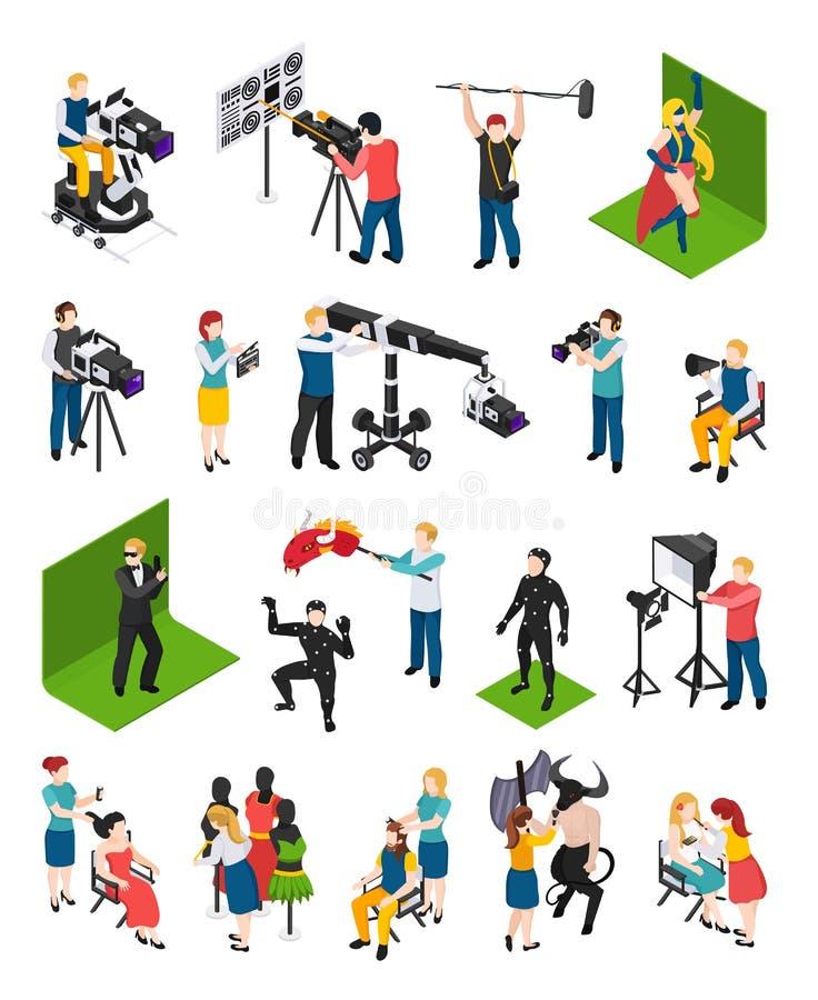 Cinematografie Isometrische Mensen vector illustratie