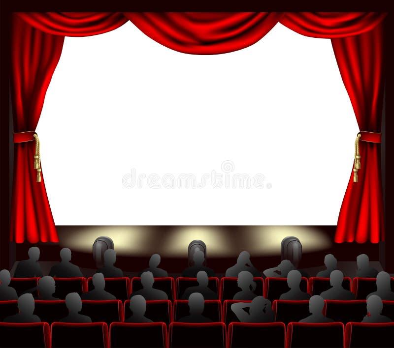 Cinematografo con il pubblico illustrazione di stock