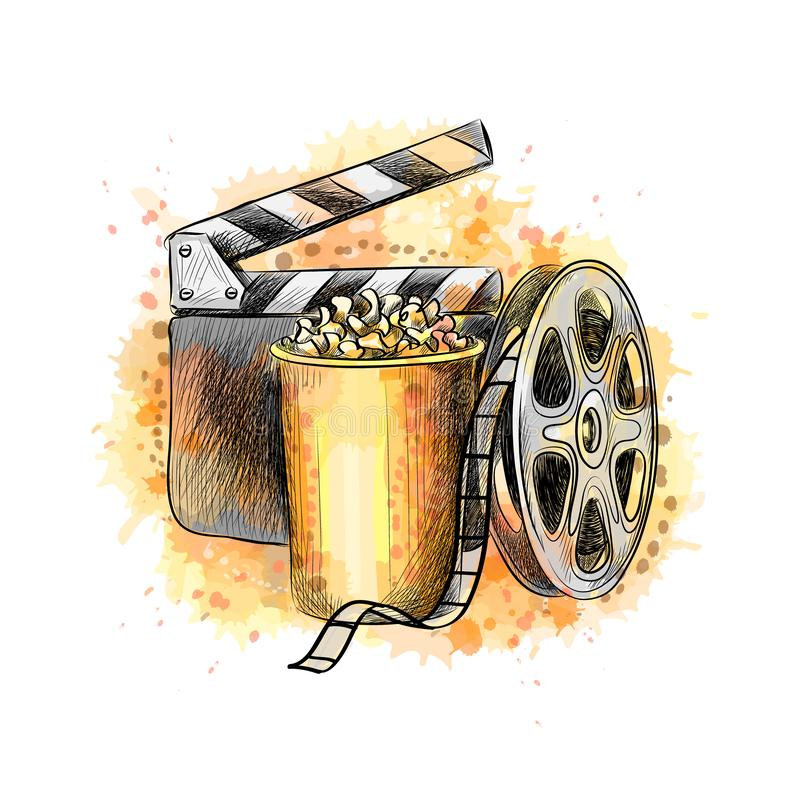 Cinematograph concept banner design template with popcorn, film reel, film tape royalty free illustration