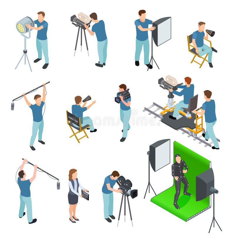 Cinematograph isometric set. People work camera light crew movie video film motion production tv studio green screen 3d royalty free illustration