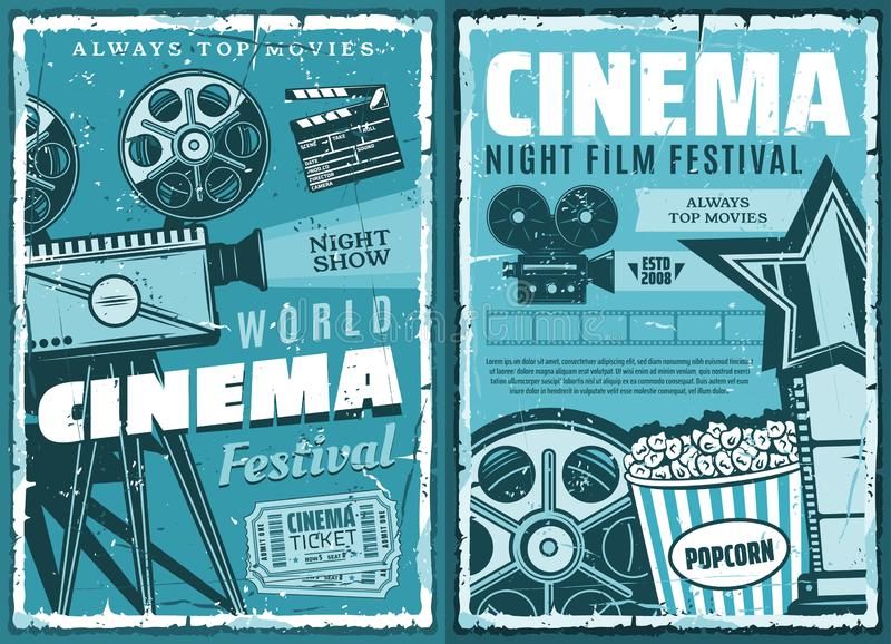 Cinematography, cinema retro movie festival. Night film festival or movie premiere retro grunge posters. vector cinematography cinema show, 3D glasses, video royalty free illustration