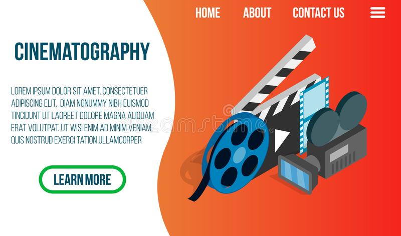 Cinematography concept banner, isometric style vector illustration