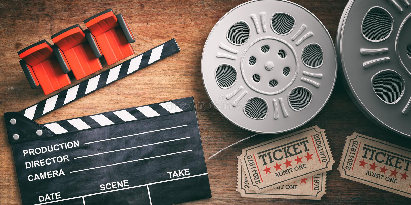 Film reels with retro cinema tickets, movie clapper and red theater seats on wooden background. 3d illustration. vector illustration