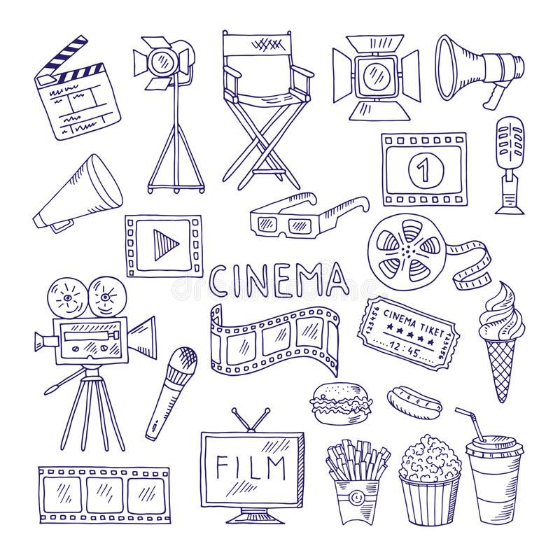 Cinematography doodle set. Video movie entertainment icons stock illustration