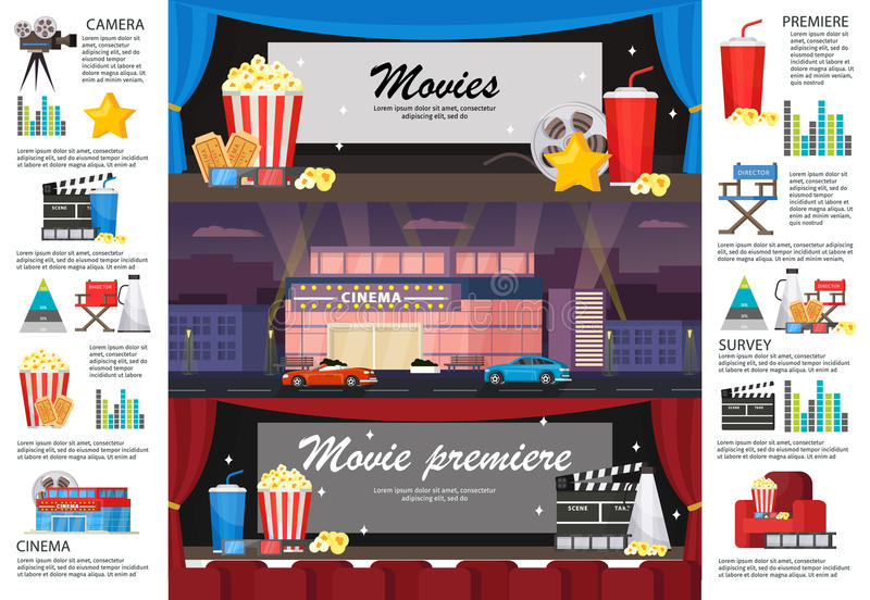 Cinematography Infographic Horizontal Banners stock illustration