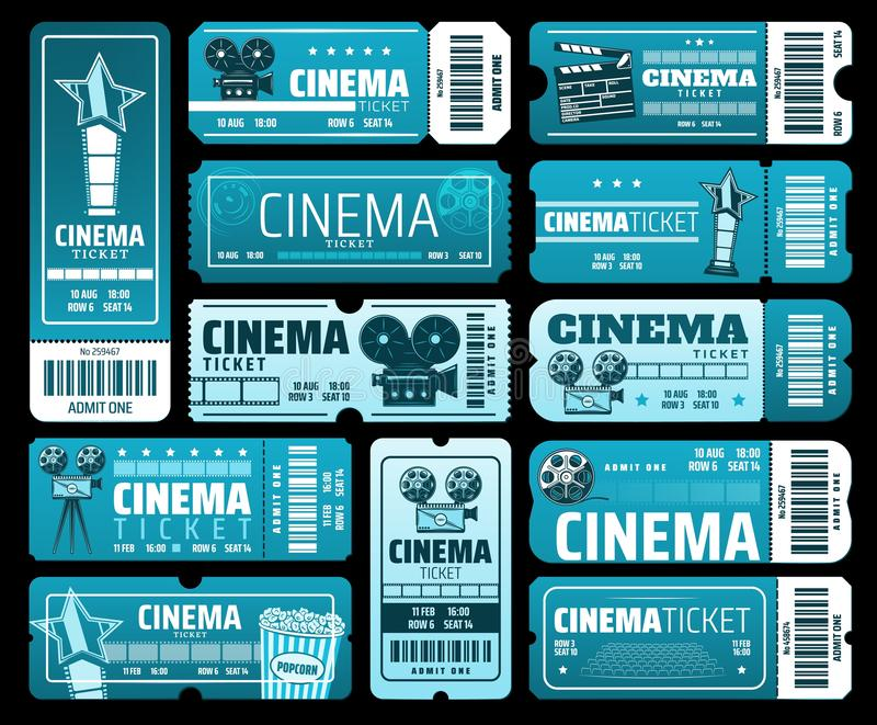 Cinematography movie festival, cinema tickets. Night film festival or movie premiere tickets. Vector cinema tickets with 3D glasses, video camera and vintage vector illustration