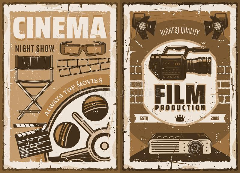 Cinematography movie studio, 3D cinema. Movie studio, cinematography and 3D cinema glasses. Vector vintage poster, movie making or film director chair and video royalty free illustration