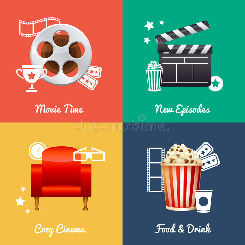 Cinematography set of square movie banners. With film reel, clapper, popcorn, 3D glasses, cinema armchair icons royalty free illustration