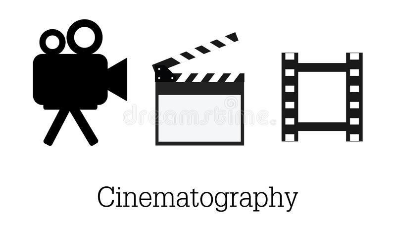 Cinematography and studio sign. Collection of cinematography and filming stock vector illustration EPS 10. Movie icon set vector illustration