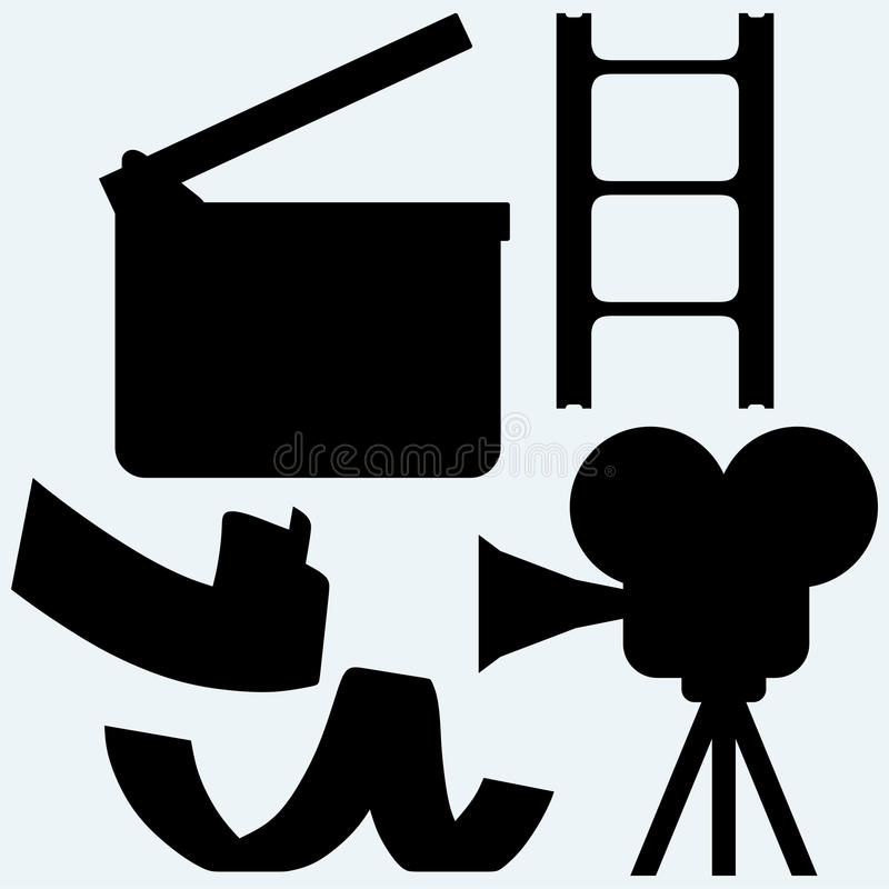 Cinematography. Video camera and film frame. On blue background. Vector silhouettes vector illustration