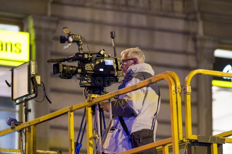 Cineoperatore sull'evento in Spagna fotografia stock libera da diritti