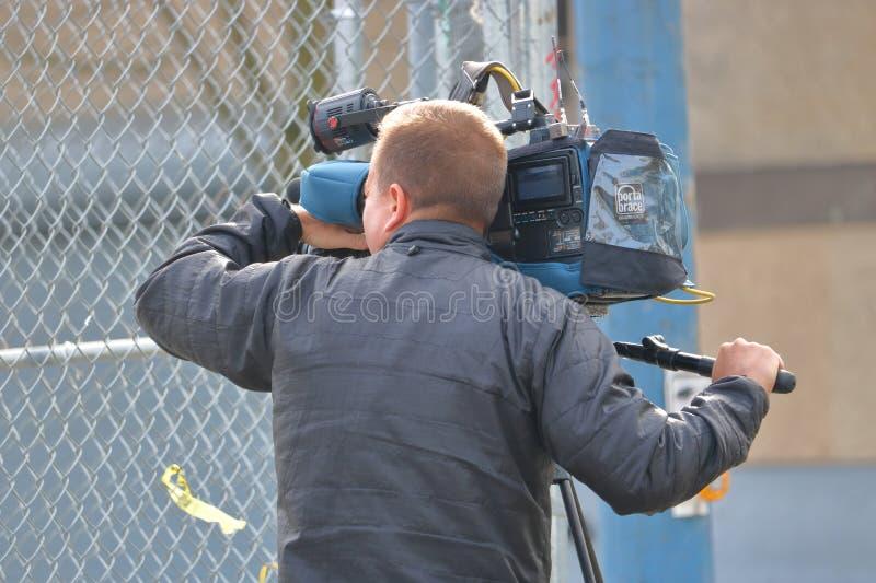 Cineoperatore Working di notizie immagine stock libera da diritti