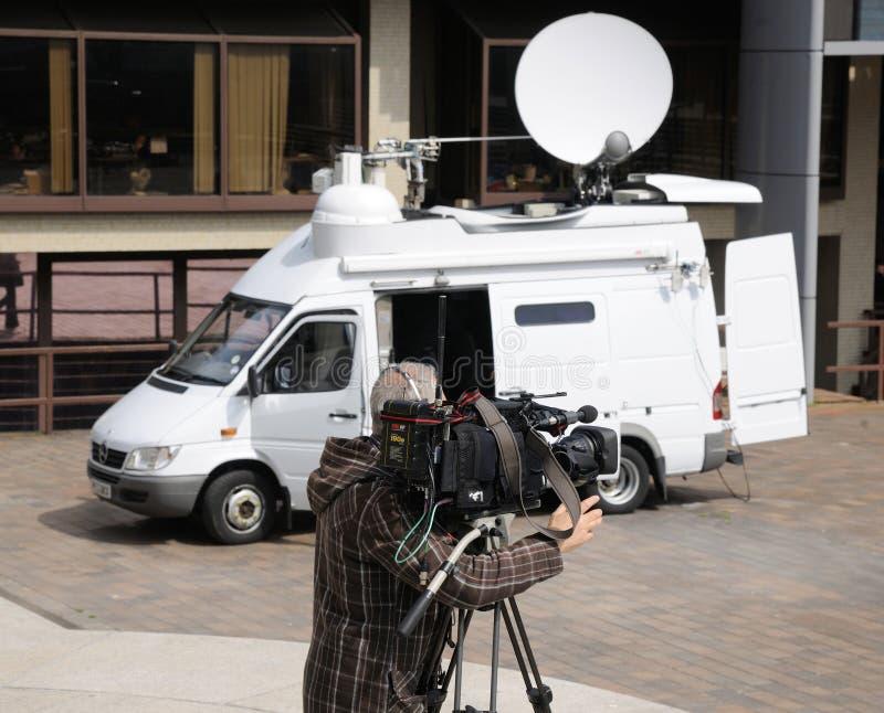 Cinepresa di televisione esterna di radiodiffusione fotografie stock