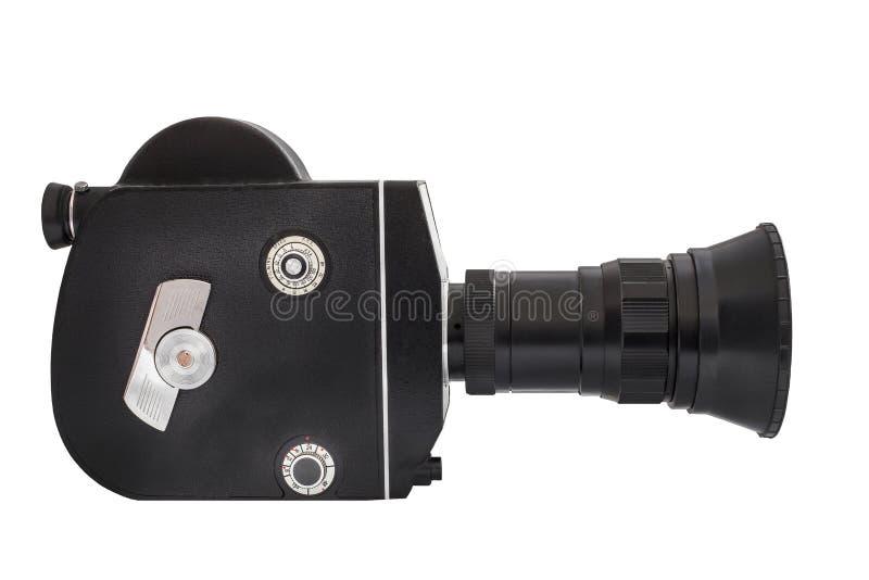 Cinepresa professionale sul film di 16mm, isolato su fondo bianco immagini stock