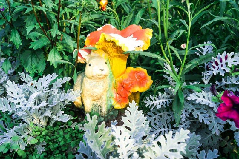 Cineraria auf dem Hintergrund von grünen Blättern und Skulptur eines Hasen im Garten stockfotos