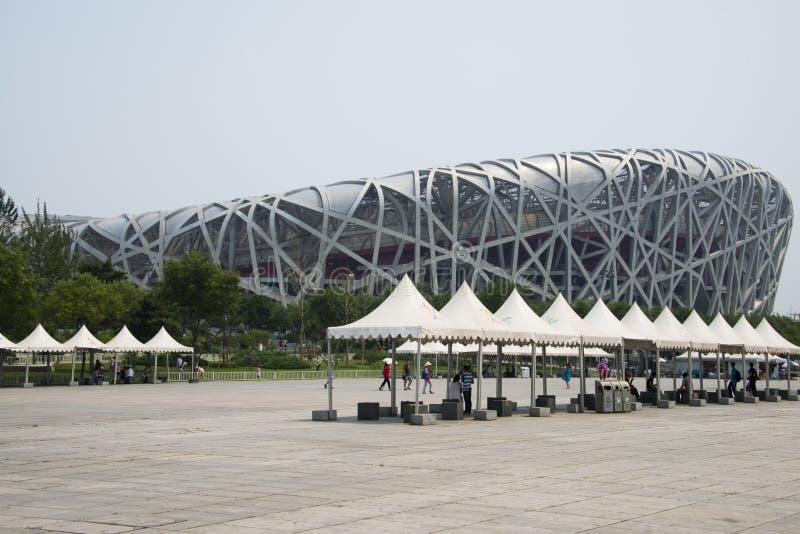 Cinese asiatico, stadio di cittadino di Pechino, il nido dell'uccello, fotografie stock libere da diritti