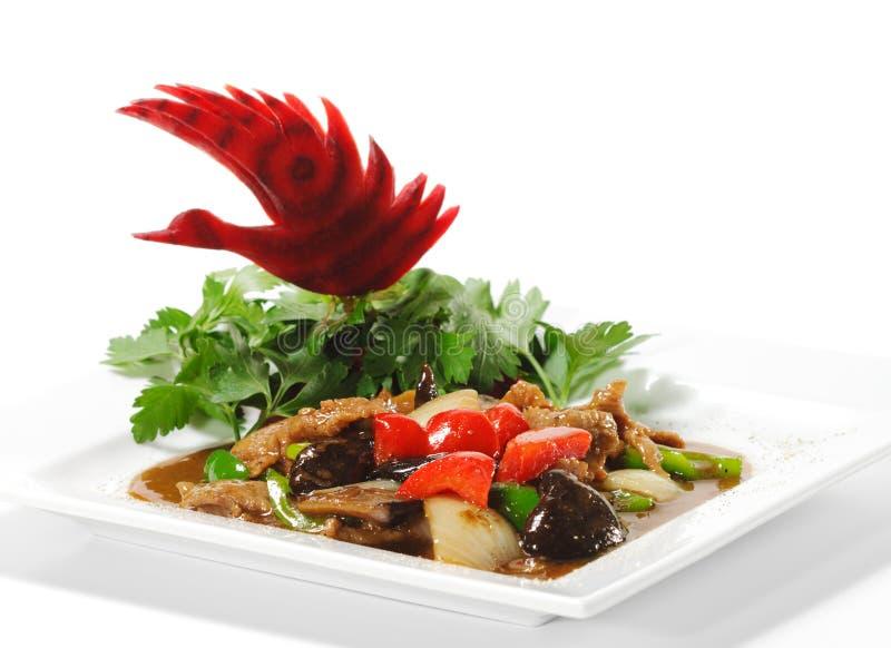 Cinese - carne con il fungo nero fotografia stock