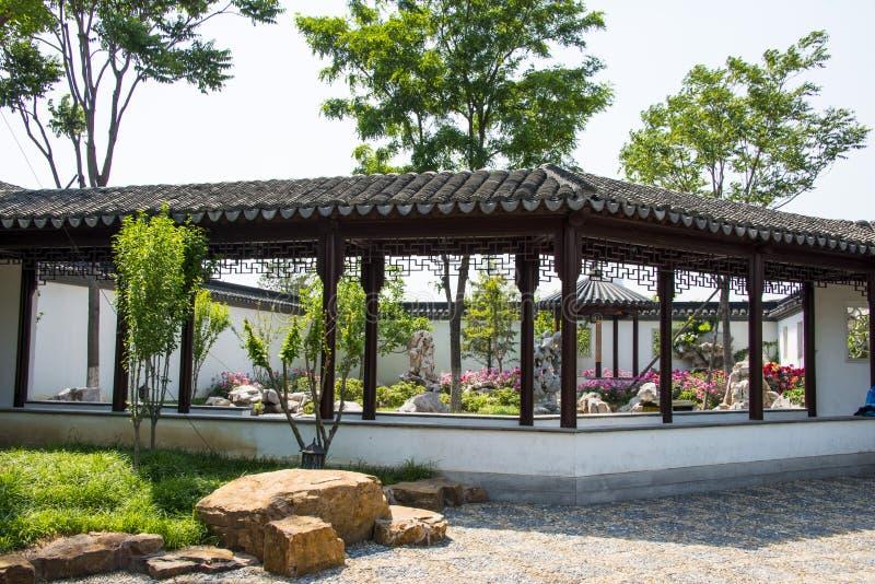 Cinese dell'Asia, Pechino, Expo del giardino, architettura del paesaggio, il corridoio lungo fotografie stock
