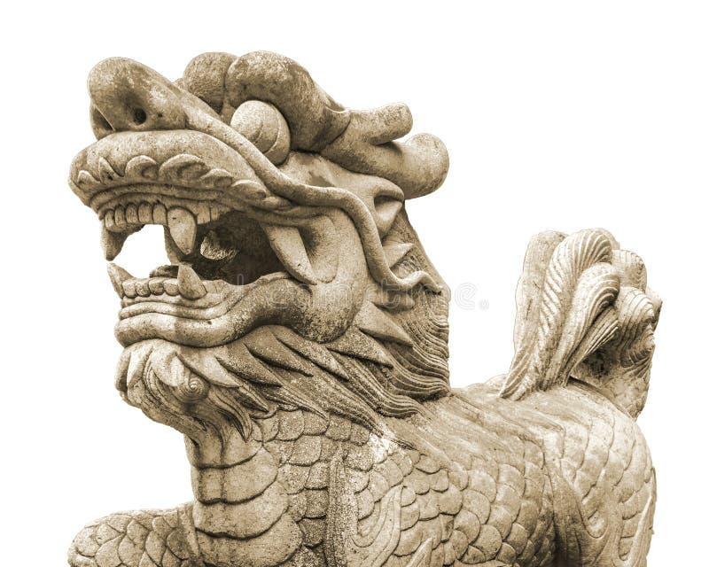 Cinese Lion Sculpture Isolated Photo fotografia stock libera da diritti