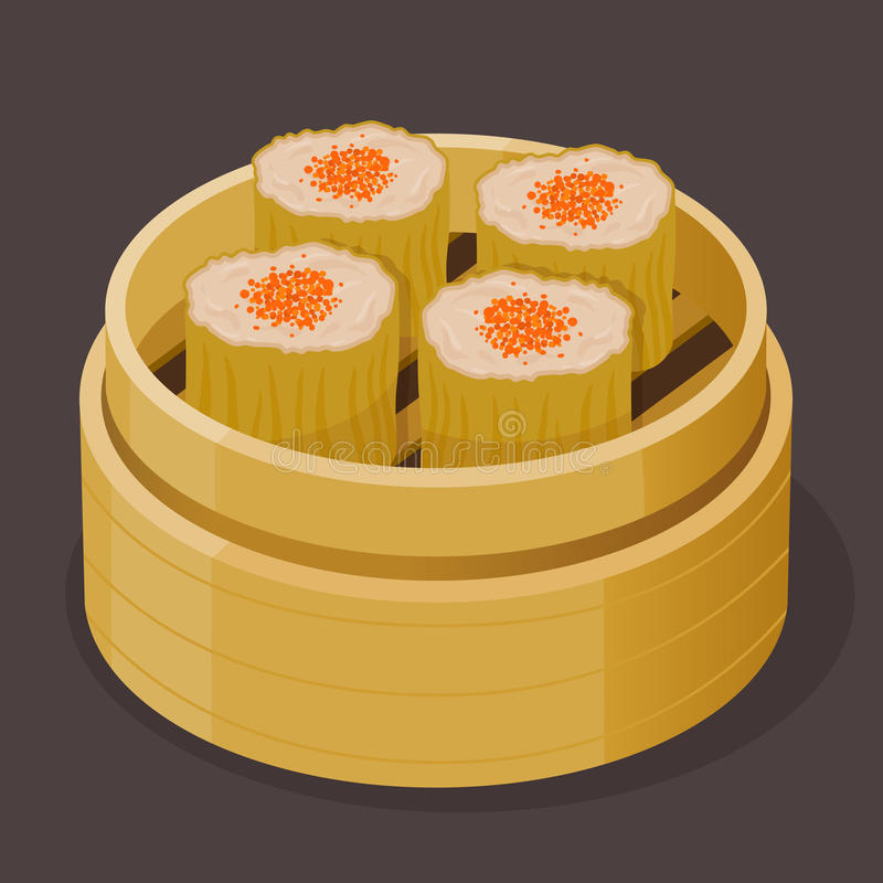 Cinese Shumai cotto a vapore Dim Sum con uovo di pesce del pesce illustrazione vettoriale