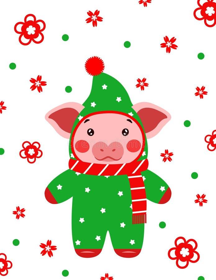 Cinese sveglio della cartolina del maiale del buon anno fotografie stock