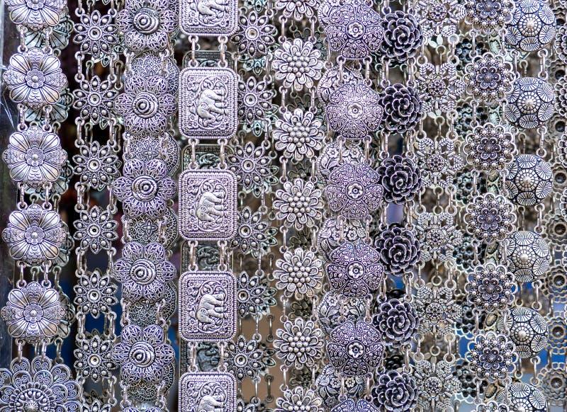 Cinghia d'argento brillante antica tailandese fotografia stock