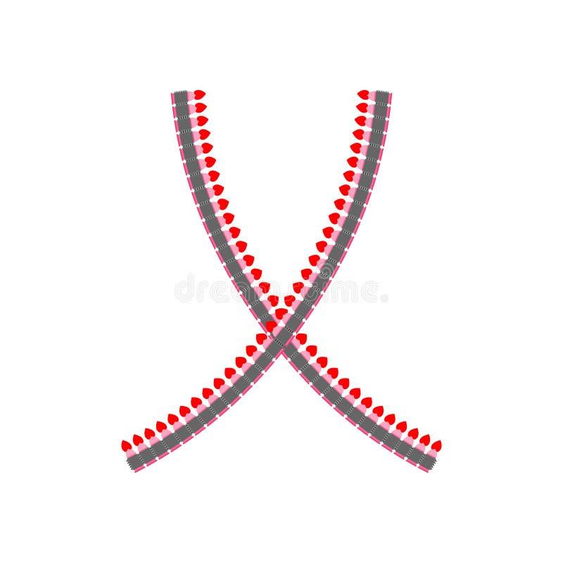 Cinghia della mitragliatrice di amore Pallottole da cuore Armi del cupido malato illustrazione vettoriale