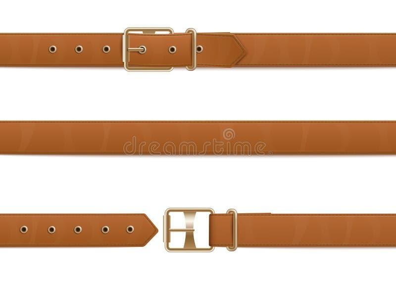 Cinghia di cuoio marrone abbottonata, aperta e chiusa con il fermaglio del metallo illustrazione vettoriale