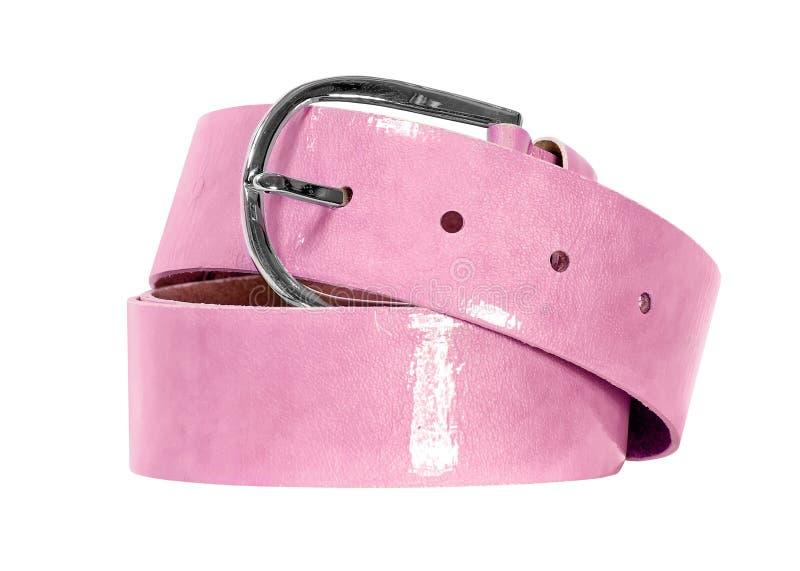 Cinghia rosa isolata su fondo bianco immagine stock