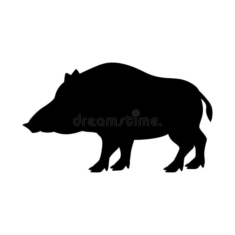 Cinghiale della siluetta del nero dell'illustrazione di vettore royalty illustrazione gratis
