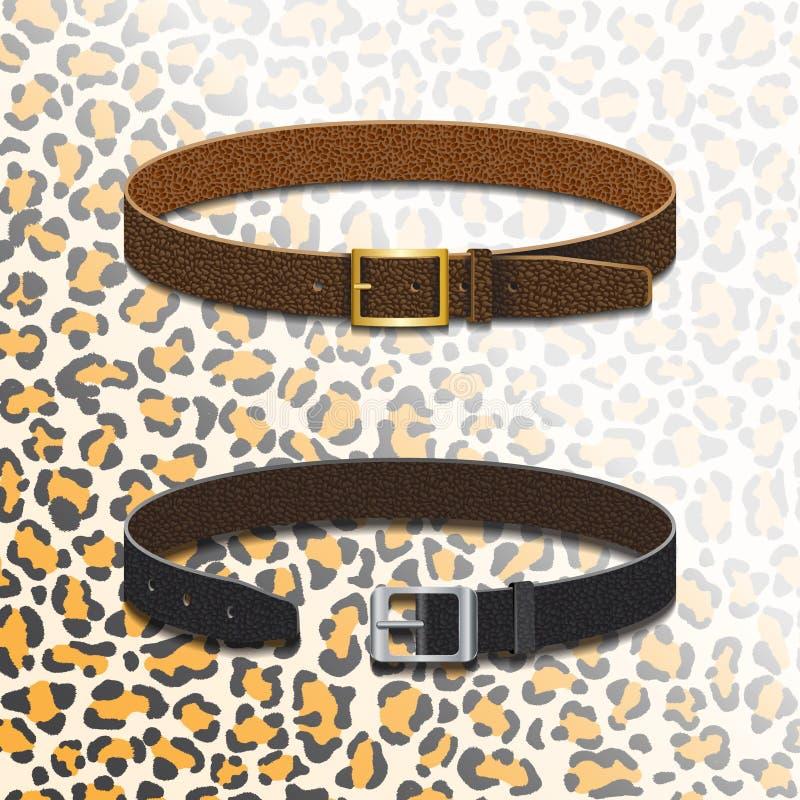 Cinghie di cuoio sui precedenti di una pelle del leopardo royalty illustrazione gratis