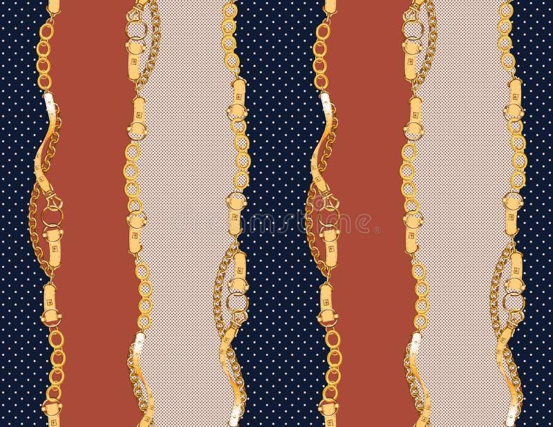 Cinghie e bande dorate antiche senza cuciture royalty illustrazione gratis