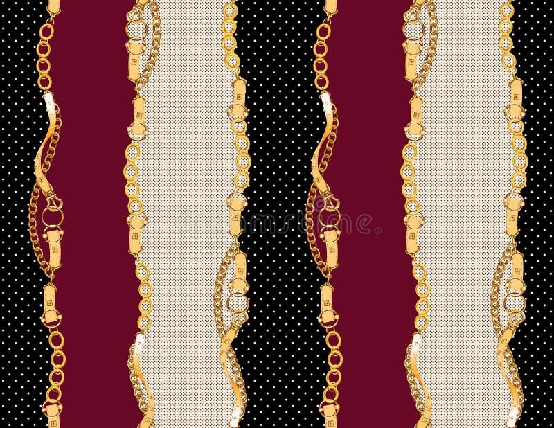 Cinghie e bande dorate antiche senza cuciture illustrazione vettoriale