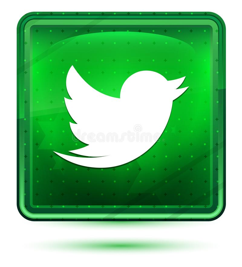 Cinguetta il bottone quadrato verde chiaro al neon dell'icona dell'uccello illustrazione vettoriale